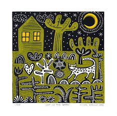 """""""Cat in the Dark"""" linocut by Hilke MacIntyre"""