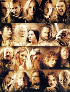 Left to right, top to bottom: Elrond, Legolas, Eowyn, Faramir, Eomer, Frodo, Gandalf, Arwen, Aragorn, Sam, Theoden, Galadriel, Gimli, Merry, Pippin, Denethor, Bilbo, Boromir, Smeagol, Gollum.