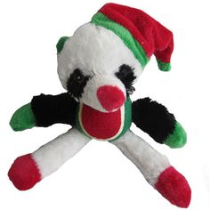 Iconic Pet Christmas Panda with Tennis Ball Squeaky Holiday Pet (Dog) Stuffed Toy - Size : 12This stuffed Christmas Panda Toy features authentic looking dark circles around their eyes to give a more attractive plush look.This plush squeaky holiday Christmas dog toy has a tennis ball to bounce which gives more fun to your dog.Made of long plush material and it includes squeaker for entertainment.You can adjust the legs of the toy as your dog needs.Best gift for your pooch during this holiday…