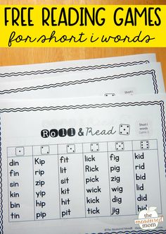 Roll & read games for short i words - The Measured Mom