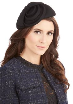 Ripples of Radiance Hat. Droplets of wine splash into your glass, echoing out to the sides as you adjust your hair under this black beret. #black #modcloth