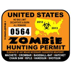 ✿ United States Zombie Hunting Permit  ✿