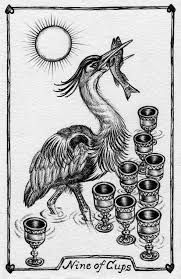 The nine of cups represents contentment and overall satisfaction with what has been achieved. We find ourselves surrounded by our fulfilled wishes. Enjoy this time in your life. Roman Mythology, Greek Mythology, Nine Of Cups, Tarot Readers, Contentment, Life, Art, Art Background, Kunst