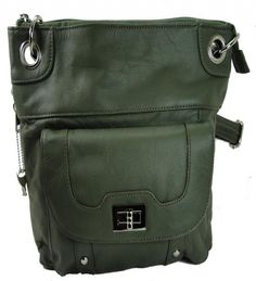 Concealed Carry Cross Body Leather Gun Purse with Locking Zipper Olive - Handbags, Bling & More!