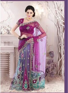 Attractive Red-violet and Robin-egg Blue #lehenga_style_saree