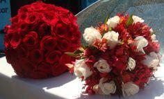 roses red,alstromerias,roses white