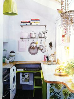 love this kitchen! this color green is just beautiful. need to paint my ikea stool this color.  sfgirlbybay