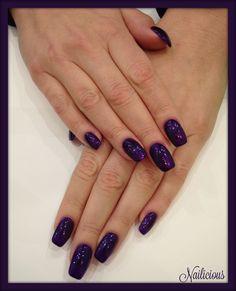 Dark violet glitter nails