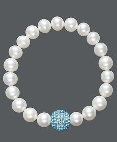Pearl Bracelet, Cultured Freshwater Pearl and Blue Crystal Bead Bracelet - Bracelets - Jewelry & Watches - Macy's