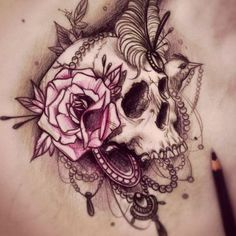 Only the best free A Sugar Skull Heart Tattoo Designs tattoo's you can find online! A Sugar Skull Heart Tattoo Designs tattoo's to print off and take to your tattoo artist. Girly Tattoos, New Tattoos, Body Art Tattoos, Sleeve Tattoos, White Tattoos, Tattoo Black, Feminine Skull Tattoos, Tattoo Sleeves, Baby Tattoos