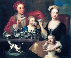 A Family at Tea circa 1725. Delightful and insightful and an adorably domesticated scene. I imagine Julian and Deborah in this context (MIDNIGHT MARRIAGE). Note teacups without handles. Called dishes until handles came along circa 1760s.