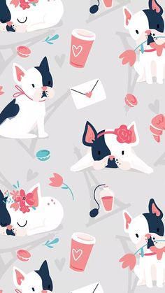 J'adore Paris - cute pattern collection with the motif of french bulldog Animal Wallpaper, Mobile Wallpaper, Wallpaper Backgrounds, Emoji Wallpaper, Iphone Backgrounds, Trendy Wallpaper, Cute Wallpapers, Iphone Wallpapers, Colorful Wallpaper