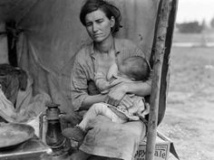 """Dorothea Lange Color Destitute pea pickers in California. Age thirty-two. Published - March 1936 Dorothea Lange's best-known picture """"Migrant Mother"""" Florence Owens Thompson. Iconic Photos, Old Photos, Famous Photos, Breastfeeding Images, Exclusive Breastfeeding, Breastfeeding Support, Dorothea Lange Photography, Hungry Children, Children Photography"""