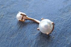 Rose Gold Pearl Prong Set Belly Button Ring by MidnightsMojo