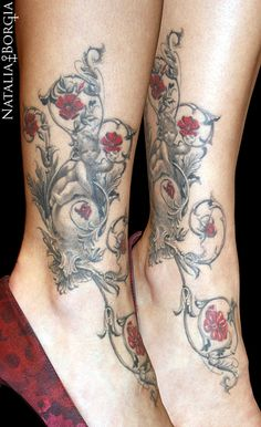 Victorian tattoo on ankle.