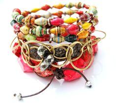 Upgandan paper bead bracelet, upcycled leather & chain bracelet, chunky jasper stretch bracelet.  Sold separately at http://tracystatler.com