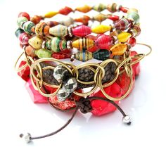 bright stacked bracelets