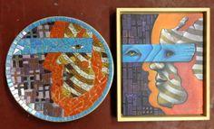 Schaal gemaakt door Ingeborg Leeftink en Hermance Bijl de Vroe naar een schilderij van Ingeborg Leeftink: Mijn maskers.