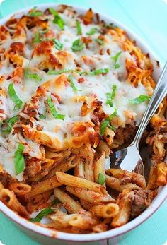 Baked Penne with Italian Sausage. Basil, sausage, red pepper flakes, ricotta cheese; the perfect comfort food. Open that bottle of Cabernet and Ill bring the salad!