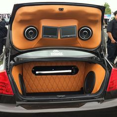 custom fiberglass trunk install subwoofers on the side of the trunk. Nice and clean. #ridesmag #speakers #system #infiniti #slammed