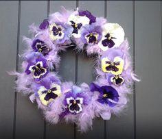 Wreath with violets ~ made by Jude Bastion flower designer.
