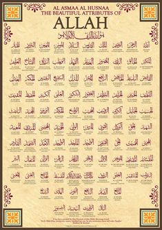 99 Names of Allah by Islamic Posters It has been narrated by Abu Hurairah that Allahs Messenger SAW said: Verily Allah has ninety-nine names, hundred bu. 99 Names of Allah Islamic Quotes, Islamic Posters, Islamic Teachings, Islamic Inspirational Quotes, Muslim Quotes, Allah Islam, Islam Muslim, Islam Quran, Allah God