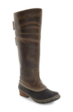 Free shipping and returns on SOREL 'Slimpack I' Waterproof Riding Boot (Women) at Nordstrom.com. Stride down snowy sidewalks with confidence in this timeless boot that channels classic equestrian riding style. Ideal for everyday wear, the tall silhouette features a waterproof full-grain leather and rubber shell that keeps feet warm and dry, while a molded footbed with arch support offers all-day comfort in cold weather.