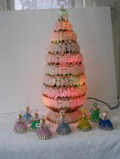 """VTG Safety Pin Lighted Clear Gold Beaded Christmas Tree 20"""" & 8 Angel Ornaments"""