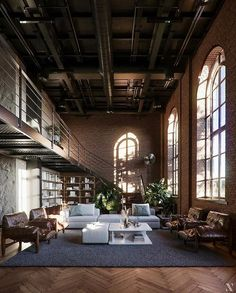 Loft Estilo Industrial, Industrial Interior Design, Industrial House, Industrial Interiors, Home Interior Design, Industrial Loft Apartment, Modern Loft Apartment, Loft Apartment Decorating, Loft Apartments