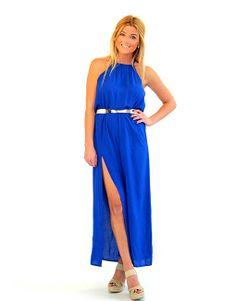 Royal Blue Halter Dress with Slit - Lotus Boutique