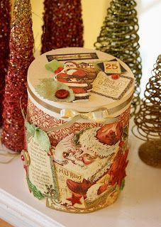 Great idea for those old popcorn tins!  Glue / modge podge old Christmas cards to it & use it to store Christmas items in for next year.