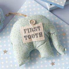 New Baby Gisela Graham Elephant First Tooth Curl Decoration