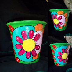 Macetas pintadas Painted Clay Pots, Painted Flower Pots, Hand Painted Ceramics, Pottery Painting, Ceramic Painting, Pottery Art, Paint Garden Pots, Garden Art, Clay Pot People
