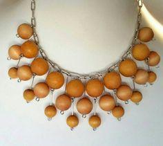 Vintage Aarikka Finland Wood Ball Modernist by scandinavianseance Light Golden Brown, Golden Honey, Pewter Color, Wooden Jewelry, Hang Tags, Finland, Helmet, Necklaces, Costume