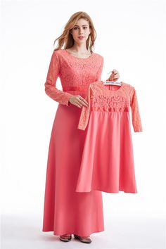 mum and kids muslim wear ,soft polyester and lace (with lining ),pink,blue ,black color option. whatsapp:+8613537825375 wechat :sophia25wu