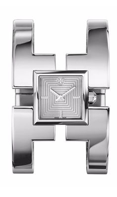 A super-chic cuff inspired by one of Tory's favorite pieces of vintage jewelry, the Sawyer makes a statement in polished stainless steel | Tory Burch Watches