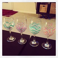 DIY wine glasses with acrylic paint. Won't be a collectors piece but would be so cute