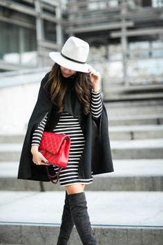 Echo Design capelet, French connection striped dress, Chanel hat, Gianvito Rossi boots, Chanel bag // Wendy's Lookbook