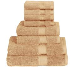 8 Piece Towel Set (Beige); 2 Bath Towels, 2 Hand Towels & 4 Washcloths - 100% Cotton By Utopia Towels