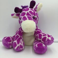 Color: purple and white. Condition: good used condition no stains or holes. Stuffed Animals, Dinosaur Stuffed Animal, Pet Toys, Baby Items, Giraffe, Plum, Lavender, Palette, Stains