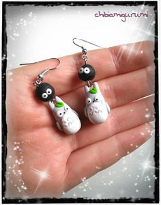 Totoro earrings chibi necklace in polymer clay€11.95