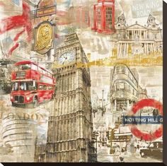 Sketch Book Stretched Canvas Print: In London by Tyler Burke : - London City, Arte Gcse, Art Environnemental, Art Et Architecture, Mixed Media Photography, White Photography, Photography Lighting, London Photography, Photography Reflector