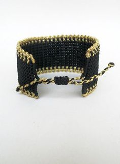 Macrame cuffBlack gold braceletZig zag by LuckyRatJewellery