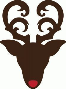 Reindeer head with flourish antlers. Use the silhouette alone or add the accent nose. A very cute accent when cut from pattern paper and used on gift bags and cards. This file is suitable for enlargement and makes a stunning piece of wall art. Christmas Stencils, Christmas Vinyl, Christmas Signs, Christmas Projects, Xmas, Silhouette Cameo Projects, Silhouette Design, Vinyl Crafts, Vinyl Projects