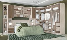 Quarto de Casal Modulado Doce Vida Araucária/Carvalho - Santos Andirá Bedroom Storage, Closet Bedroom, Home Bedroom, Bedroom Furniture, Home Furniture, Bedroom Decor, Bedroom Wall, Basement Bedrooms, Guest Bedrooms