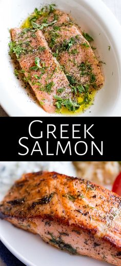 This delicious and easy Greek Salmon is the perfect quick healthy dinner for the whole family. The marinade is a simple mix of olive oil, lemon, dill, and oregano. The fish is pan-fried, giving it a Delicious Salmon Recipes, Dill Recipes, Baked Salmon Recipes, Seafood Recipes, Cooking Recipes, Healthy Recipes, Fish Recipes With Dill, Tilapia Recipes, Lunch Recipes