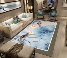 Tapis sol art asiatique ambiance zen - Lotus blancs sur fond beige et bleu