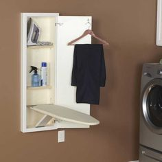 Wall Mounted Ironing Board Cabinet in White