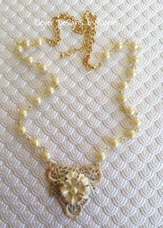June Challenge and FUF 6/26 .. Wedding Necklace  B'sue filigree, leafs and flower are painted with a touch of perfect pearls .. pearls and gold plated chain . perfect for a bride, mom or the maid of honor .. Jann Tague .. Clever Designs .. https://www.facebook.com/JewelsByJann