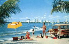 Retro ads show off sunny Miami Beach.